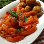 polpette e peperoni al forno