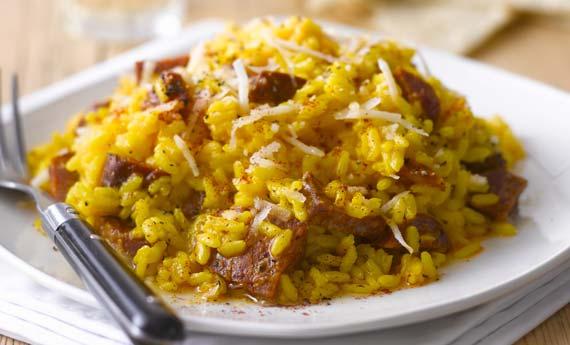 risotto con salsiccia e zafferano